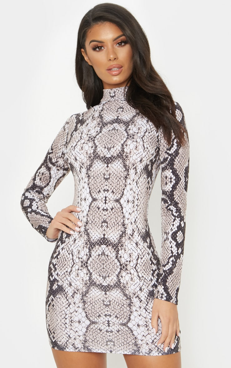 Tan Snake Print High Neck Bodycon Dress 4