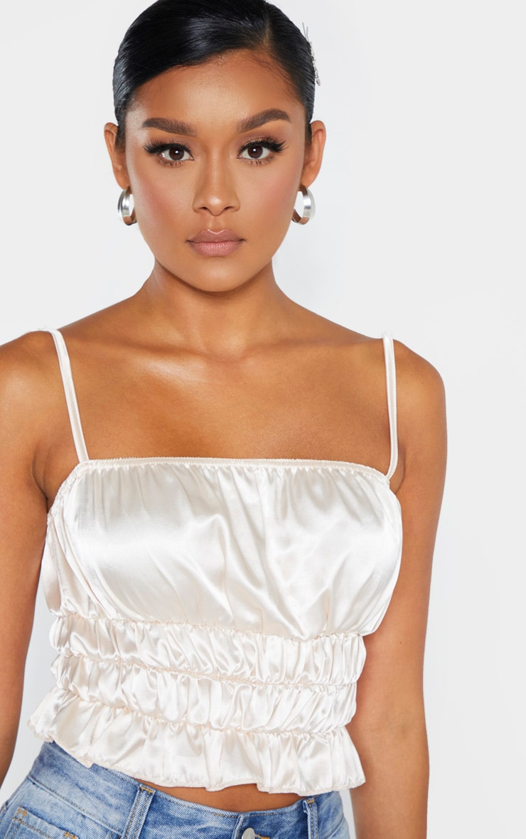 Champagne Satin Ruched Tie Detail Cami 5