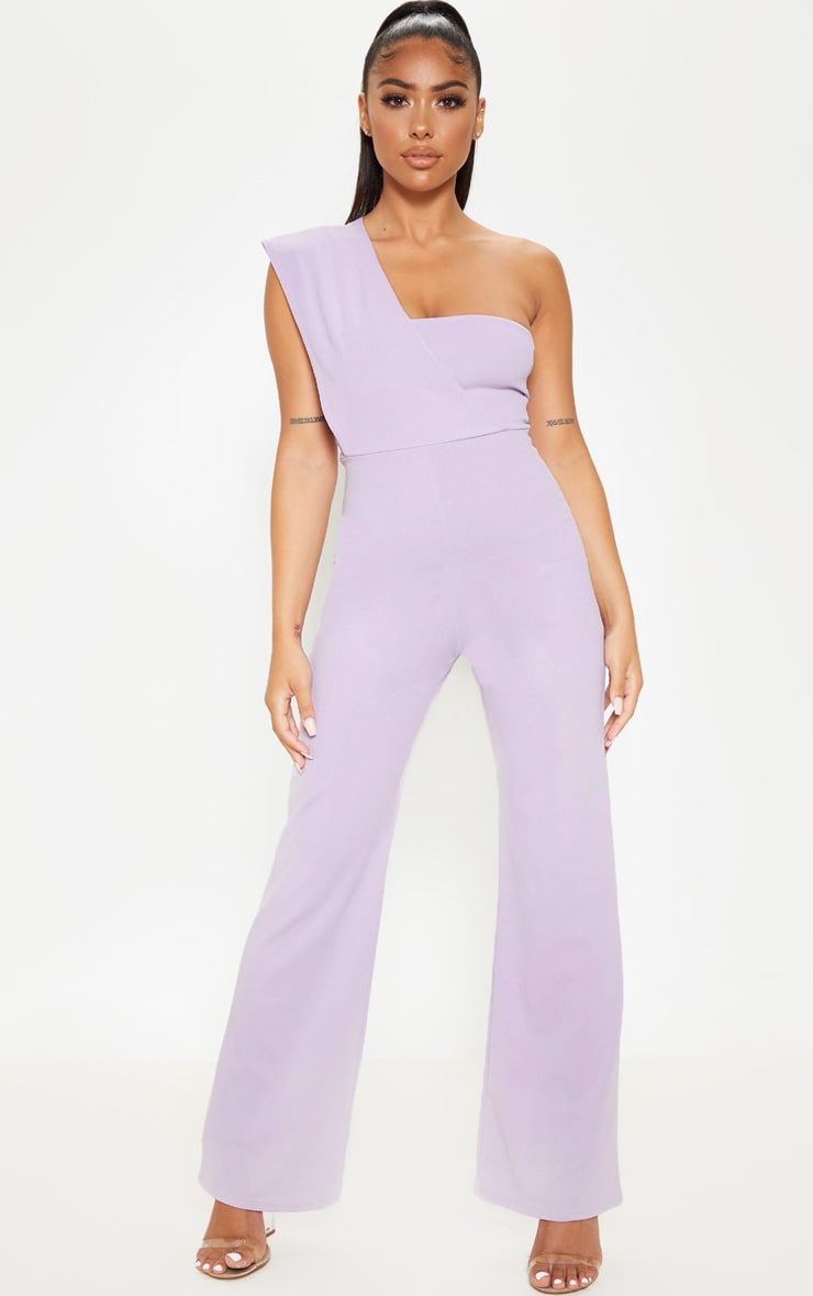 wholesale dealer huge selection of huge range of Petite Lilac Drape One Shoulder Jumpsuit