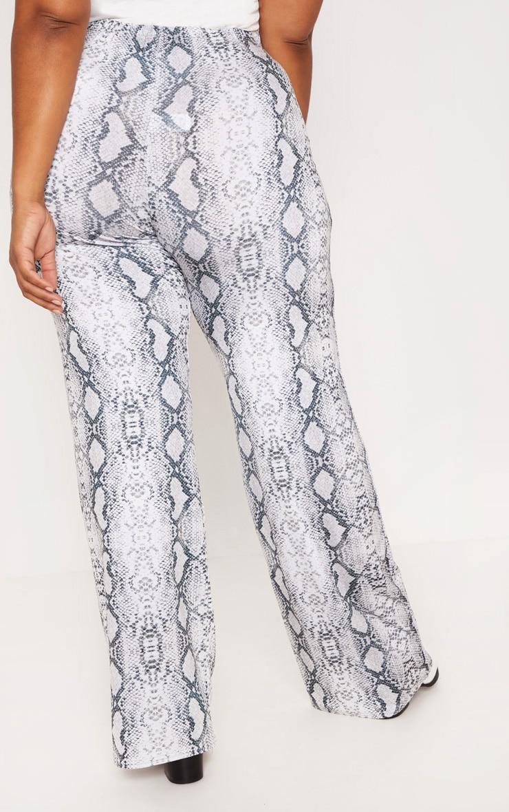 Plus Grey Snake Print Wide Leg Trousers 4