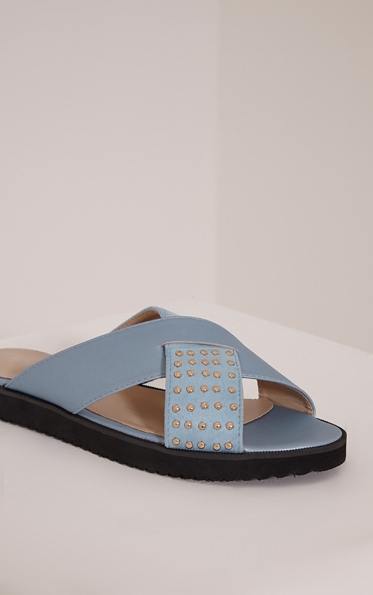 Aalia Powder Blue Stud Detail Sliders 5
