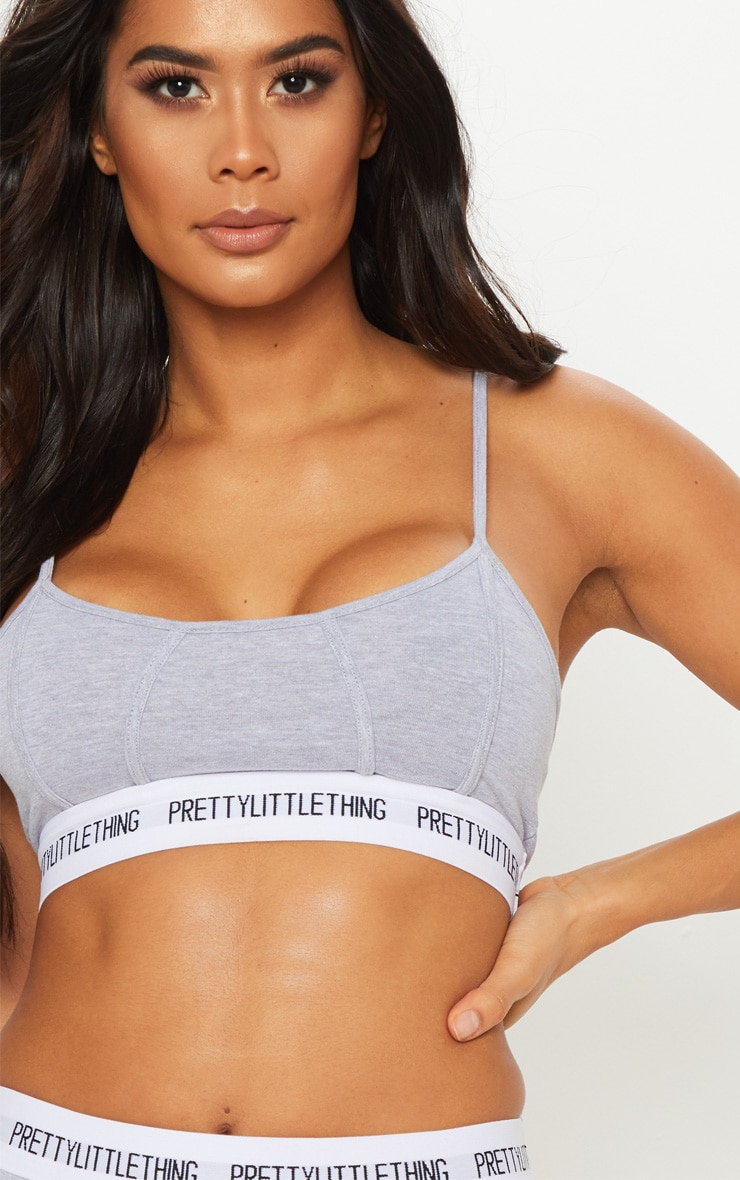 PRETTYLITTLETHING Light Grey Binding Detail Bra 1