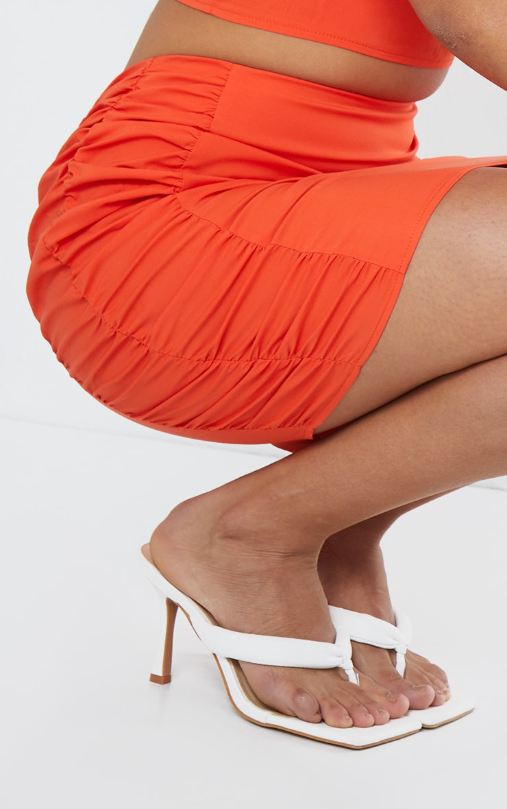 Orange Woven Ruched Side Bodycon Mini Skirt 5