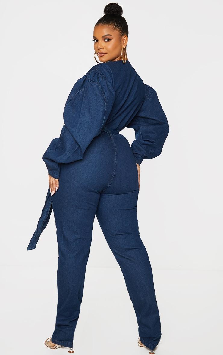 Plus Indigo Zip Detail Belted Denim Jumpsuit image 2