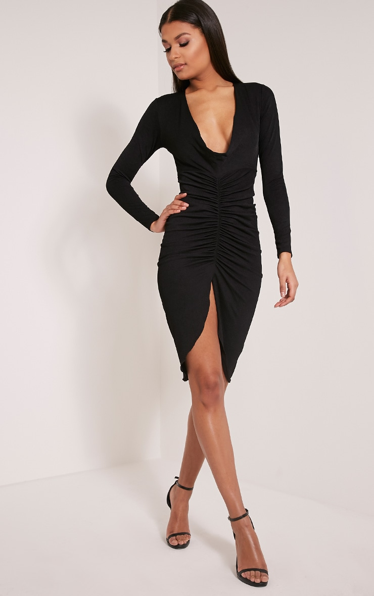 Zoey Black Ruched Midi Dress 4