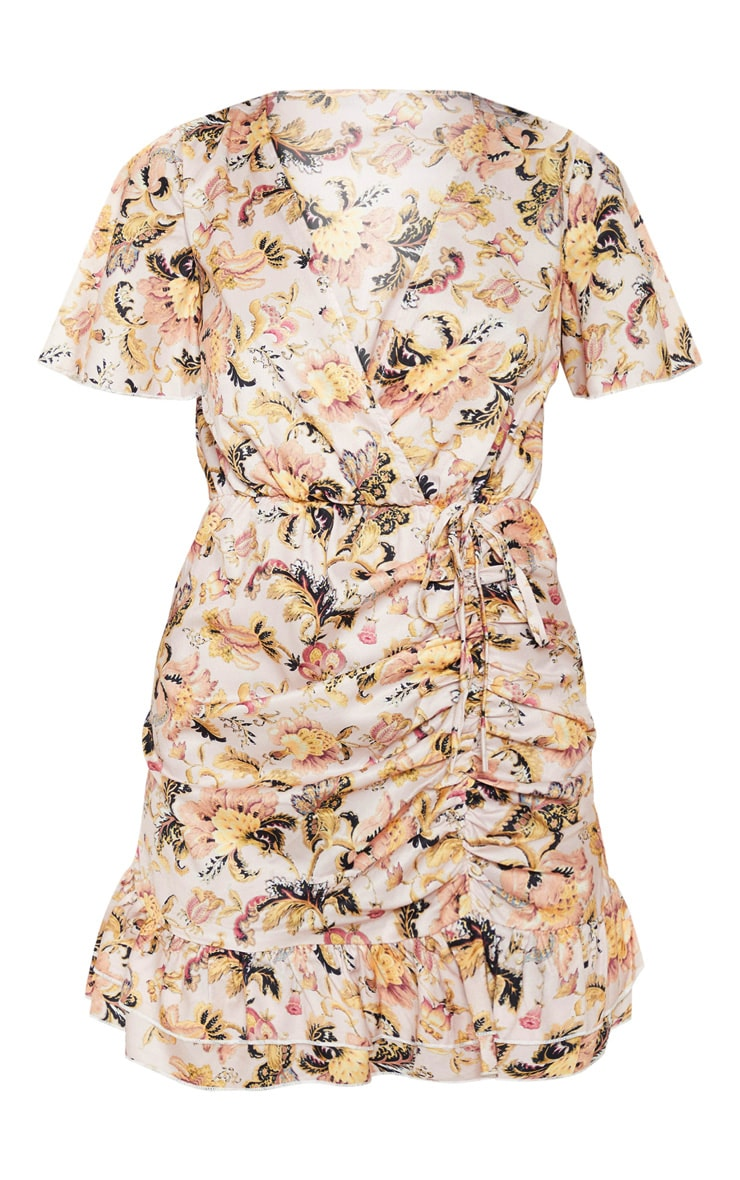 Nude Floral Print Ruched Frill Tea Dress 3