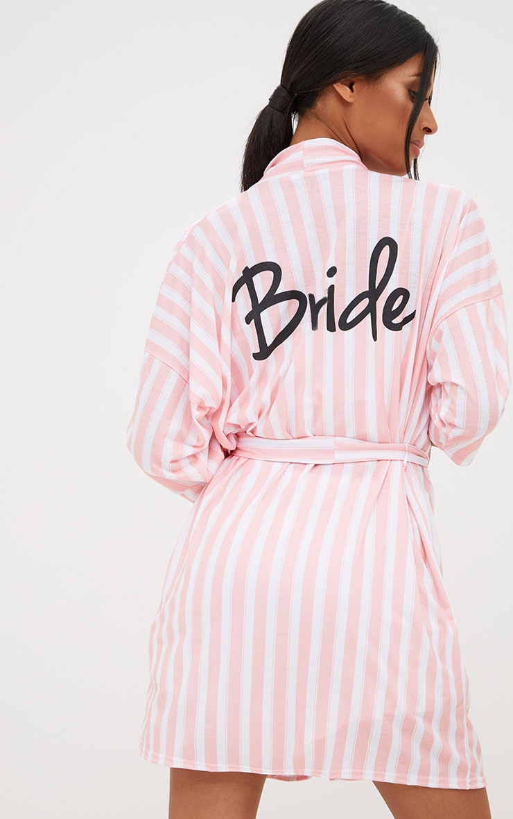 Pink Stripe Bride Dressing Gown 1