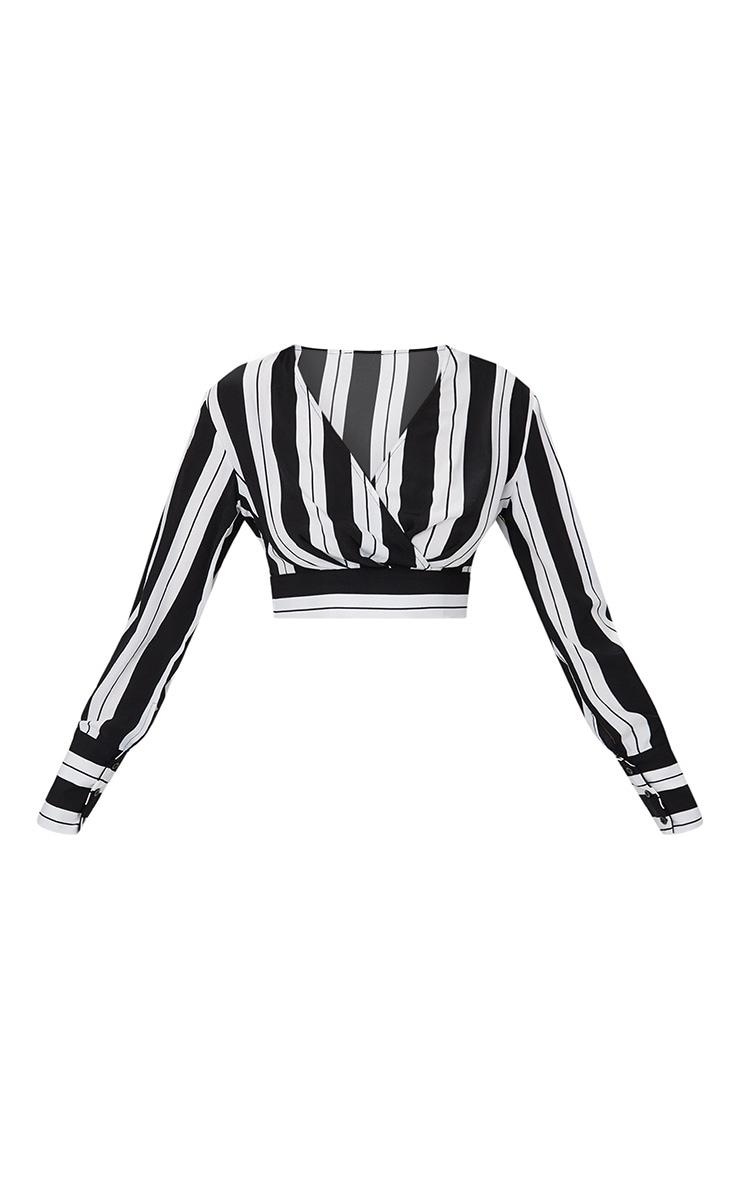 Black Long Sleeve Stripe Crop Blouse  3
