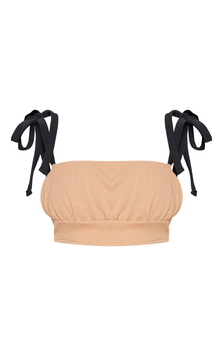 Camel Tie Strap Ruched Detail Crop Top 4