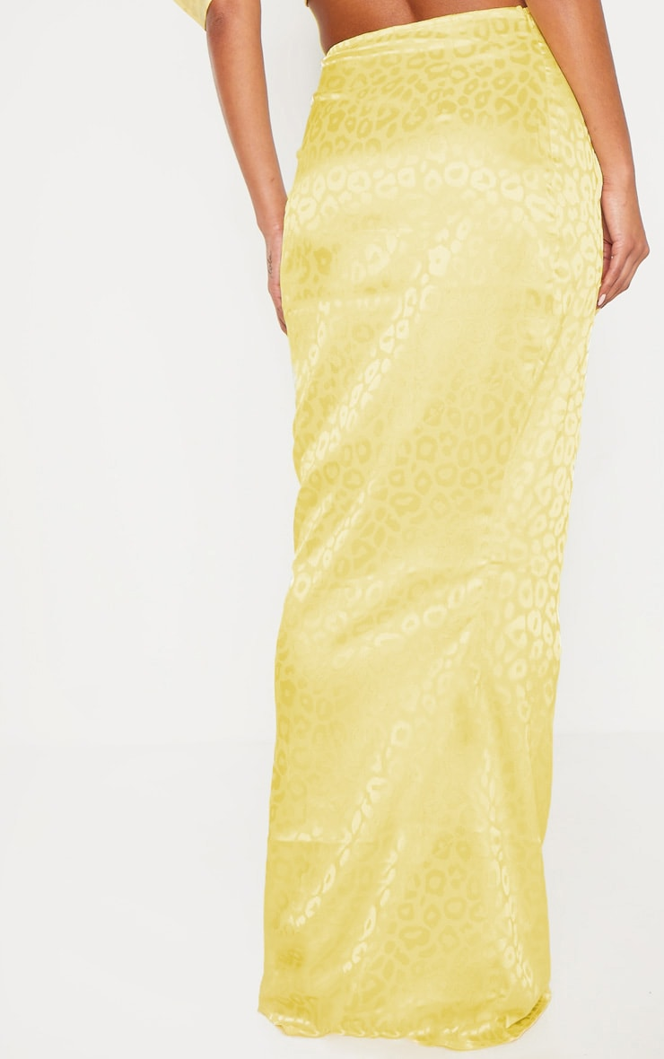 Yellow Satin Jacquard Leopard Print Maxi Skirt 4