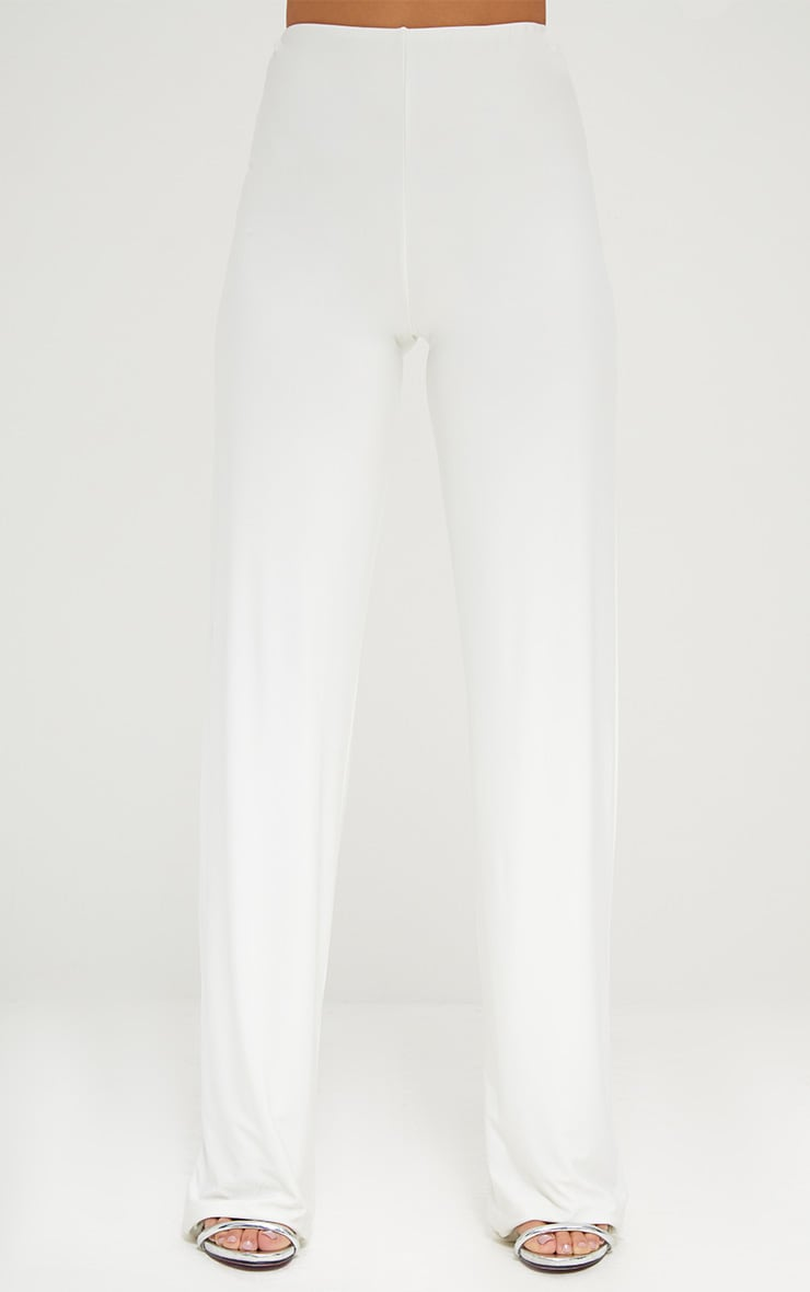 Cream Double Layer Slinky Wide Leg Trousers 2