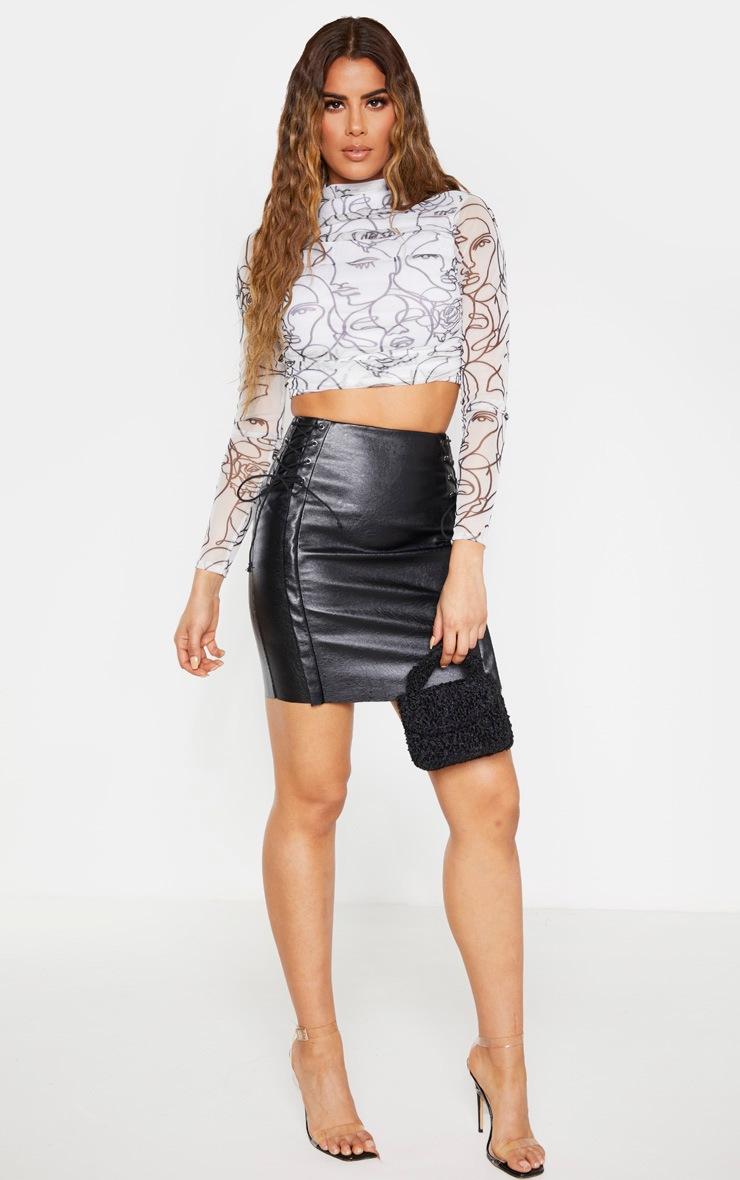 Tall Black PU Lace Up Mini Skirt  5