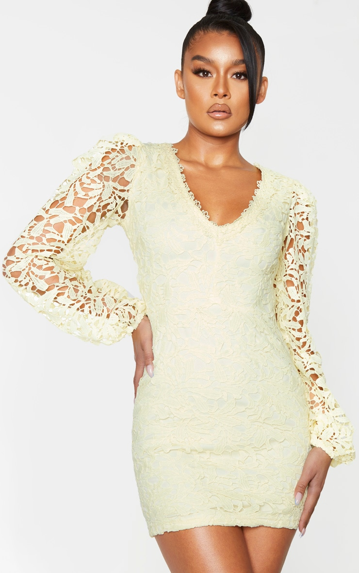 Pale Yellow Lace Long Sleeve Plunge Bodycon Dress 3