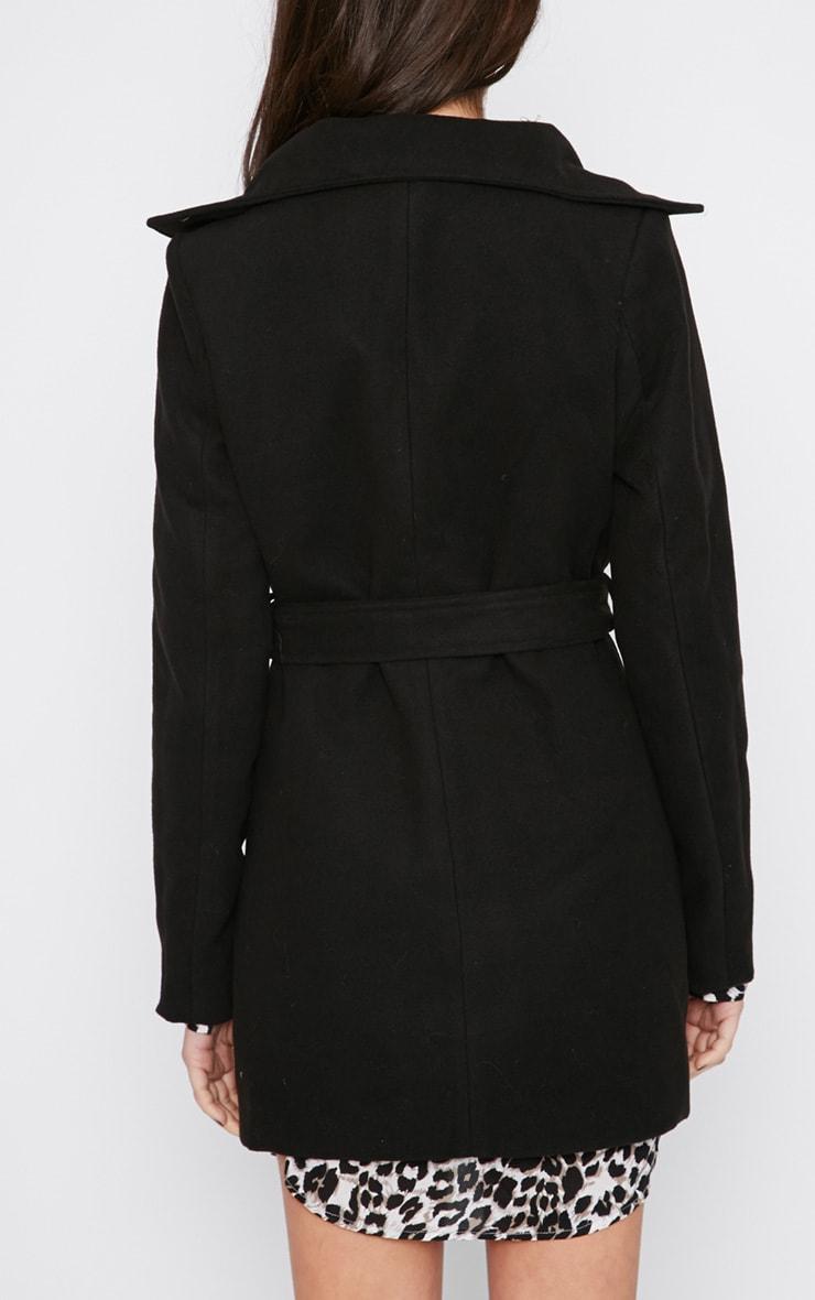 Shona Black Notched Collar Wool Coat  2