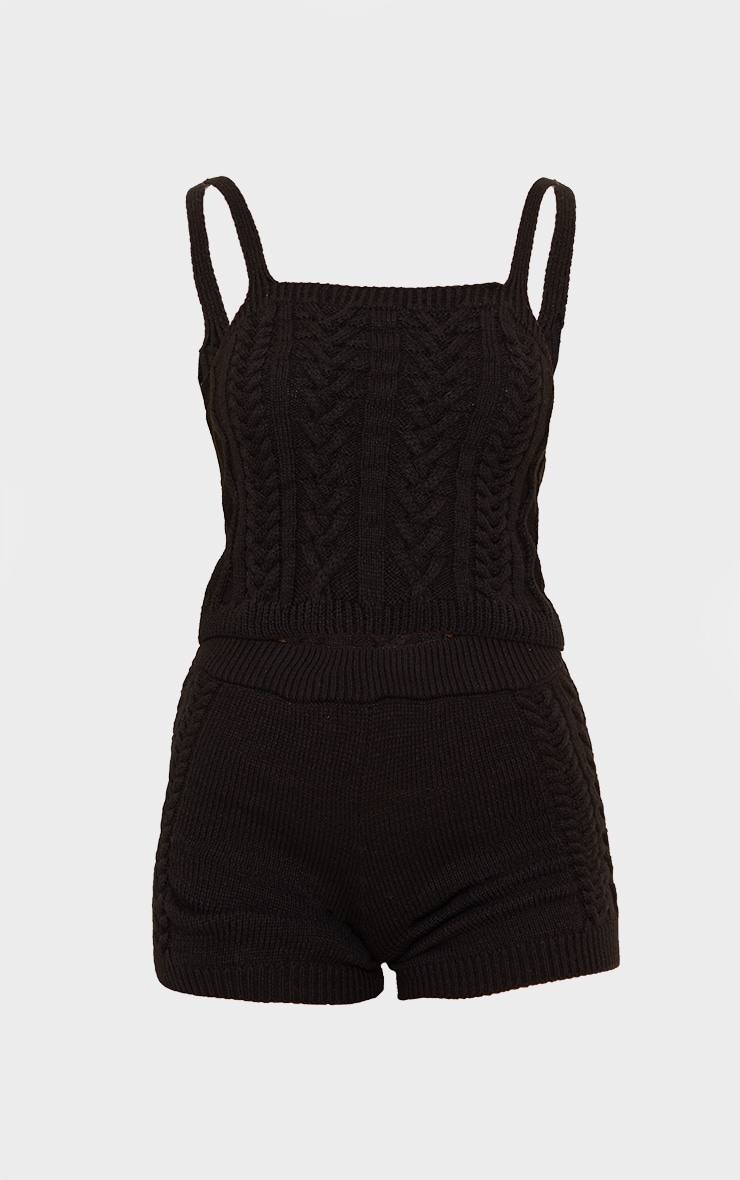 Black Cable Knitted Bralet Set 5