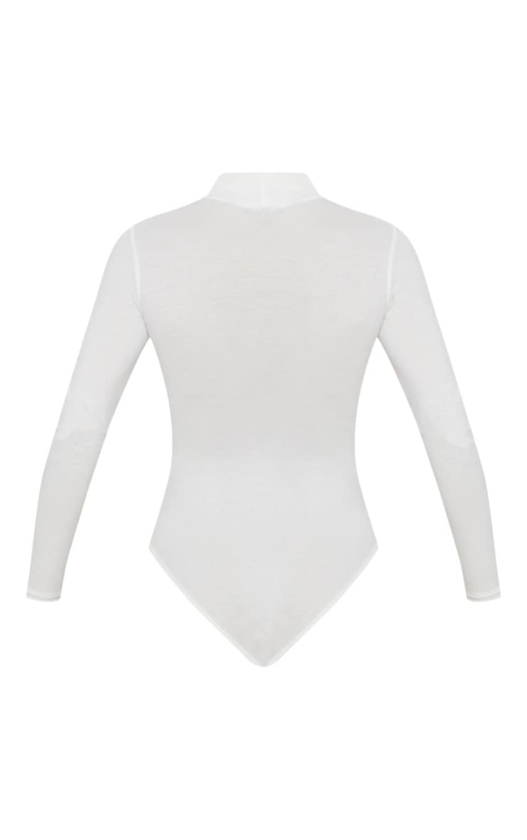 Cream Roll Neck Long Sleeve Bodysuit 4