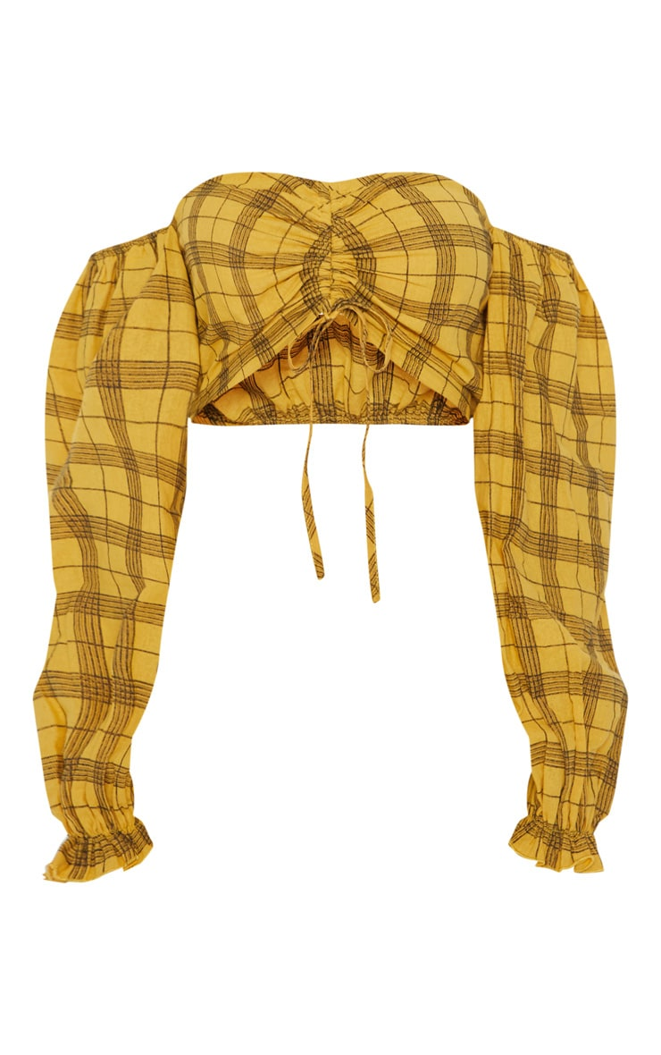 Mustard Check Print Bardot Ruched Front Long Sleeve Crop Top 3