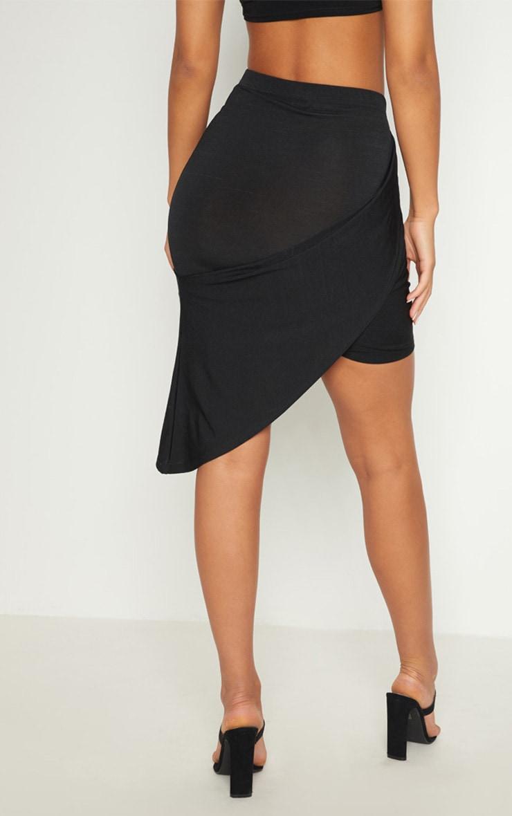 Black Slinky Drape Side Skirt 3