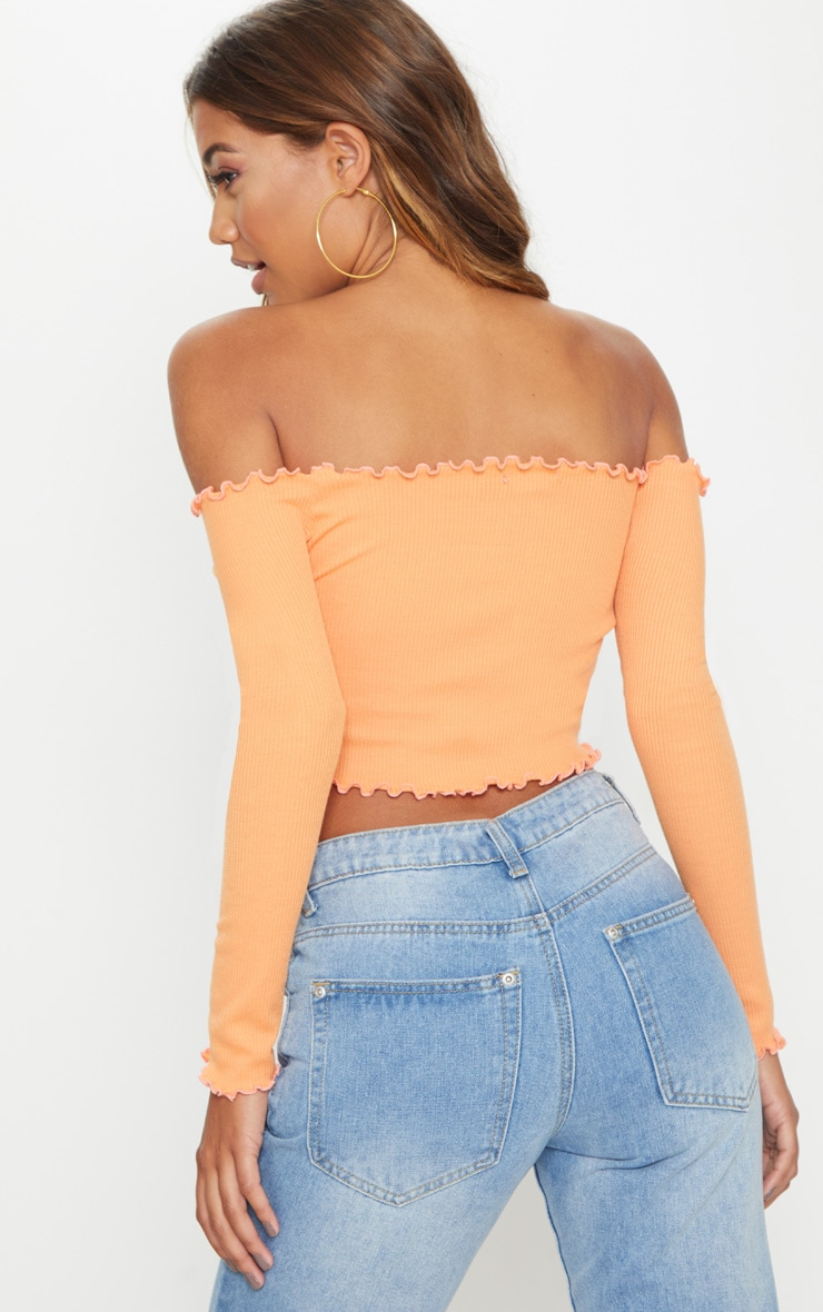 Tangerine Frill Edge Crop Top  2