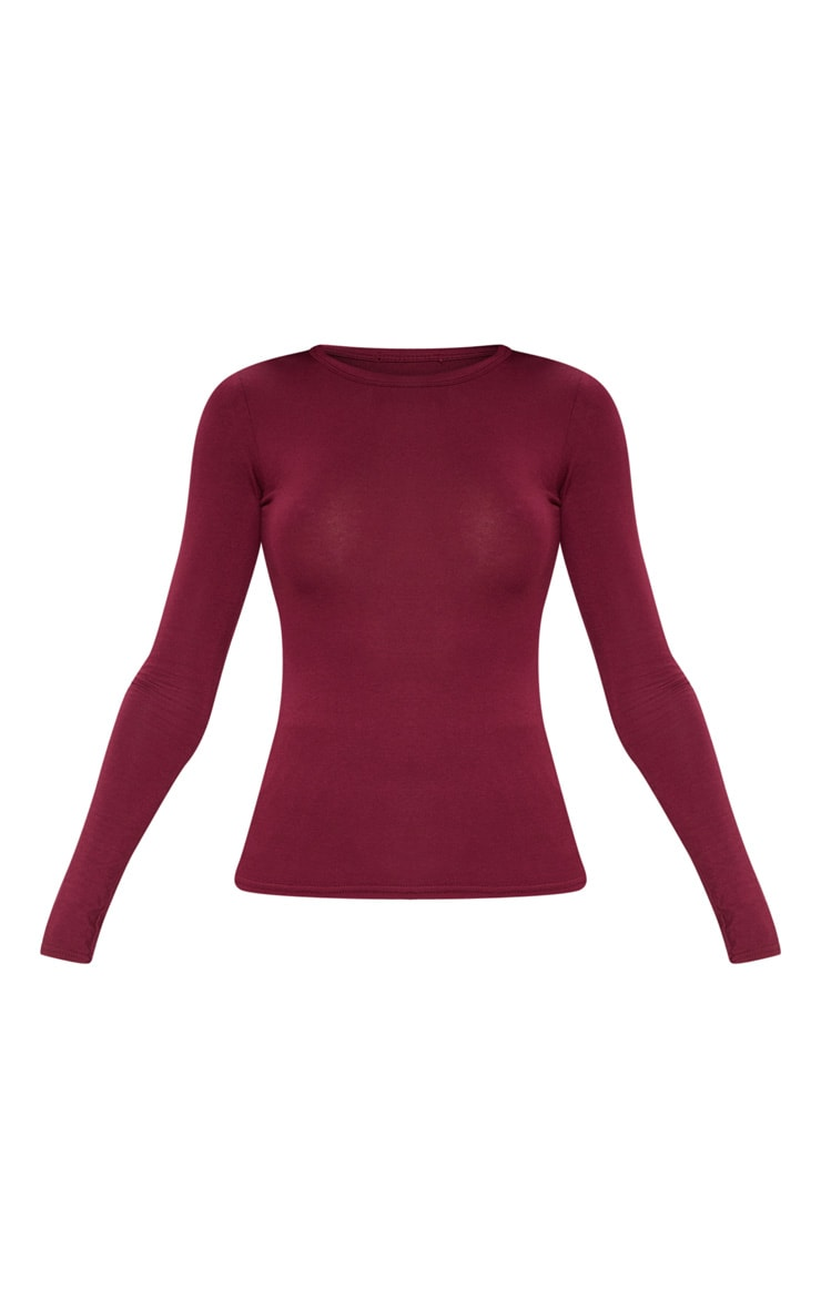 Basic Maroon Longsleeve Fitted T Shirt  3