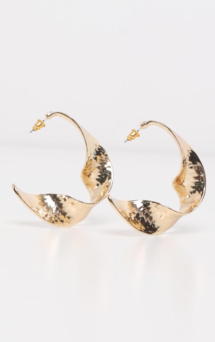 Gold Irregular Swirl Shape Drop Earrings