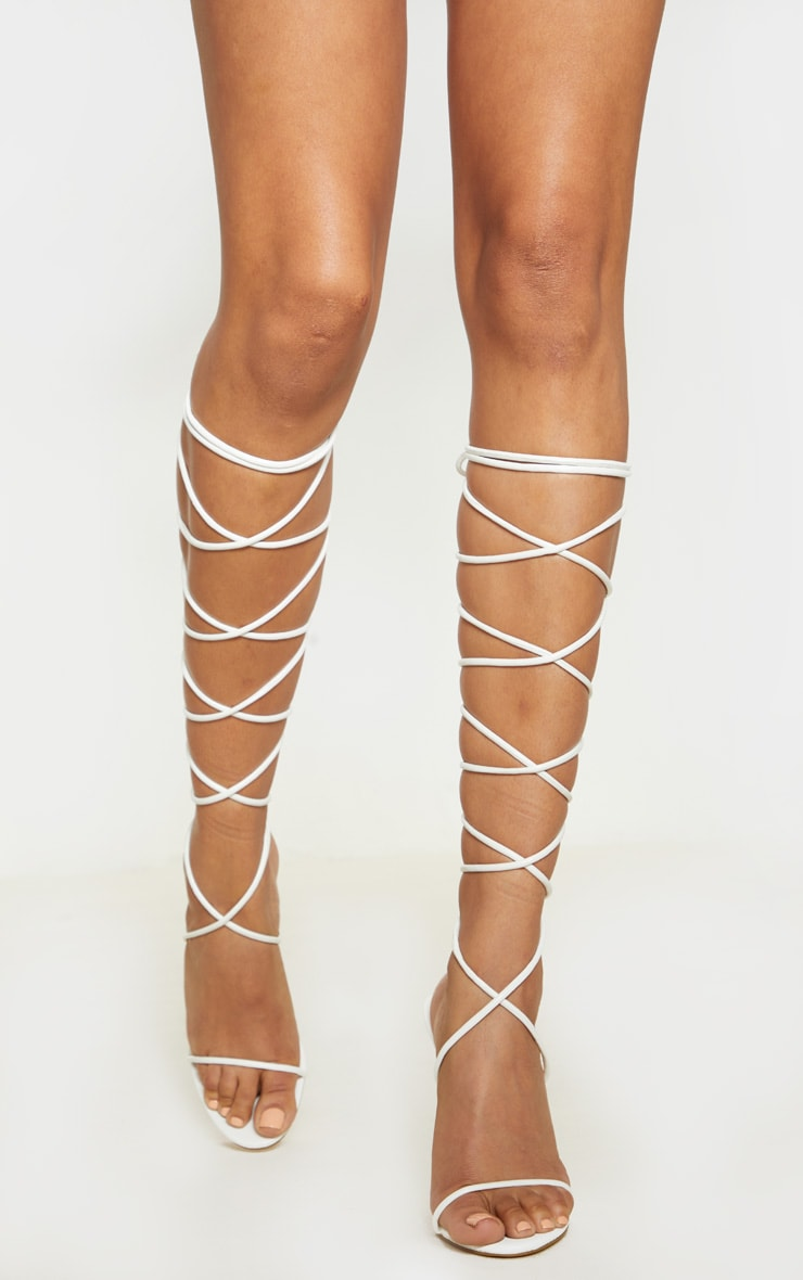 White Knee High Strappy Sandal 2