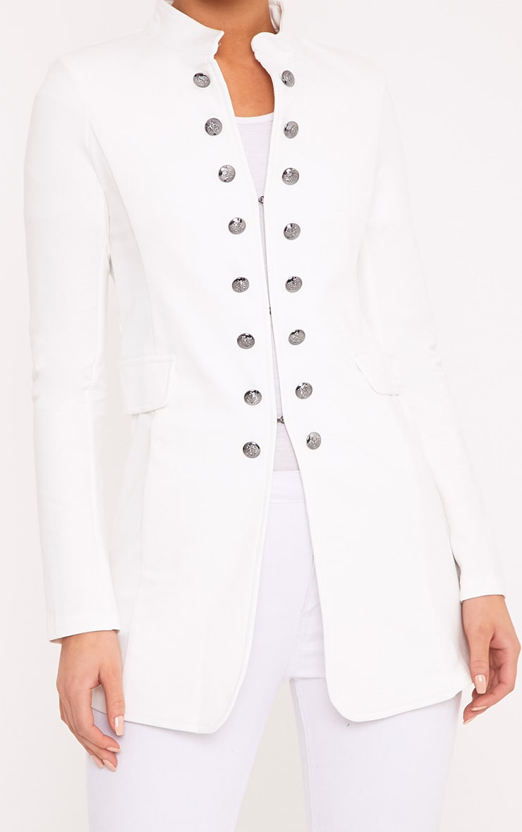 Solenn White Double Button Miltary Coat 6