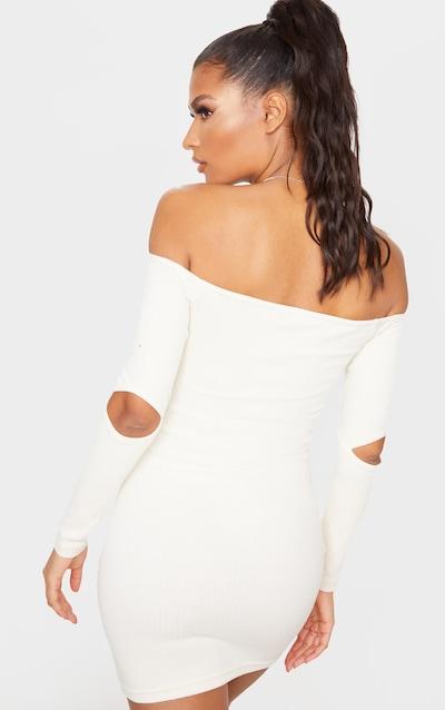 Cream Cut Out Sleeve Rib Knit Bardot Dress