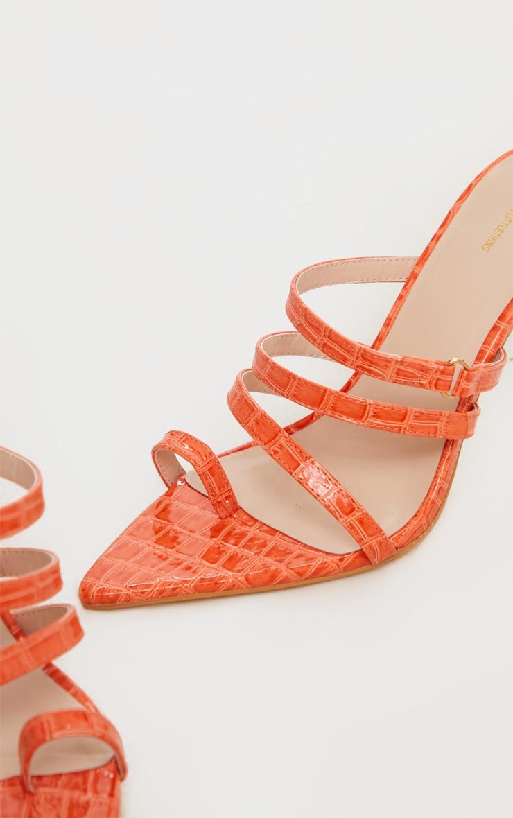 Orange Toe Loop Triple Strap Pin Heel Mule 4