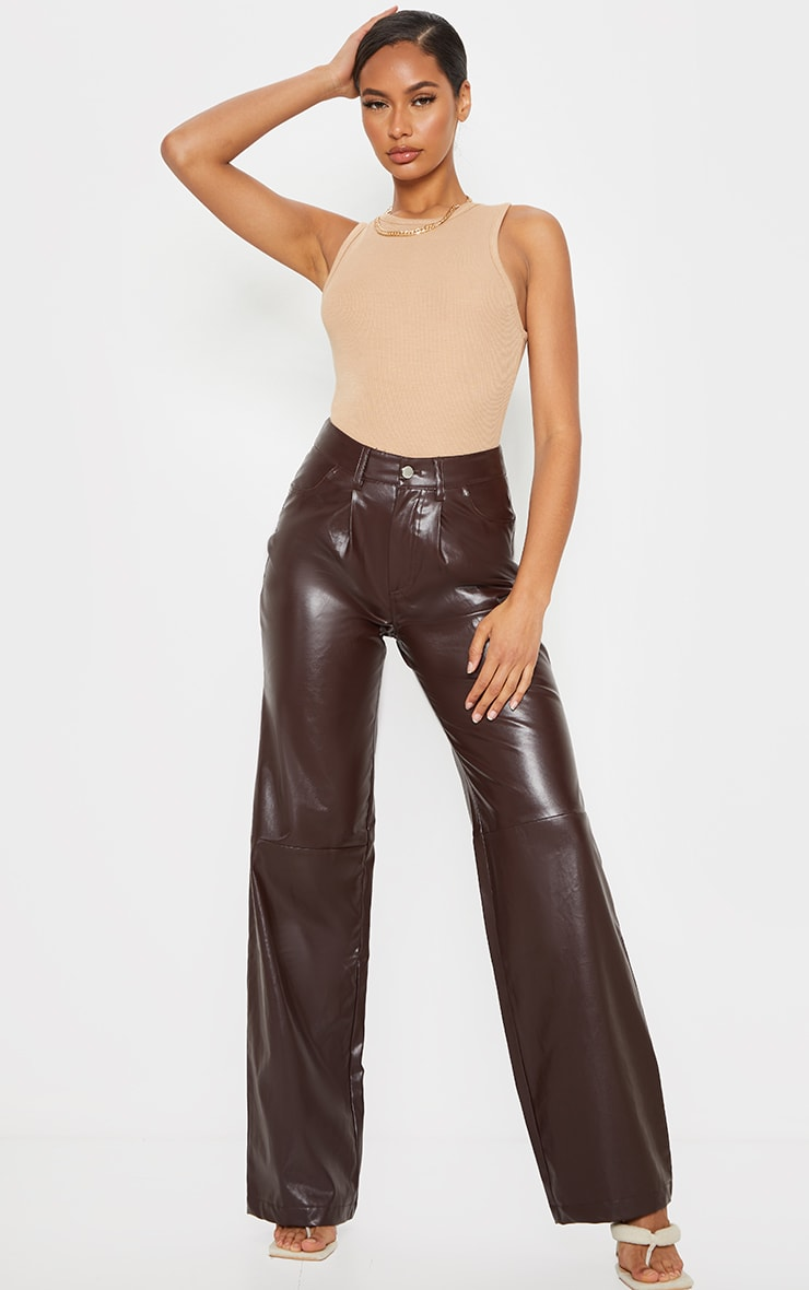 Chocolate Faux Leather Pleat Detail Wide Leg Trousers 5