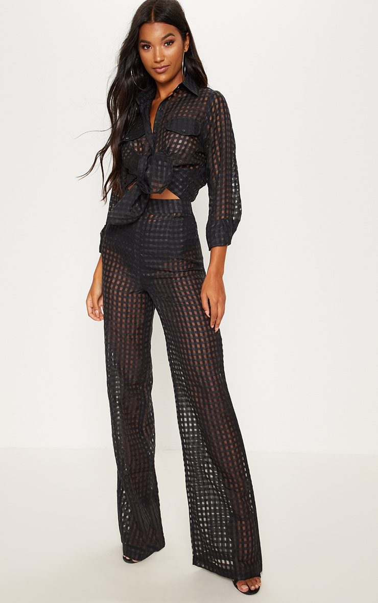 Black Sheer Check Wide Leg Trouser