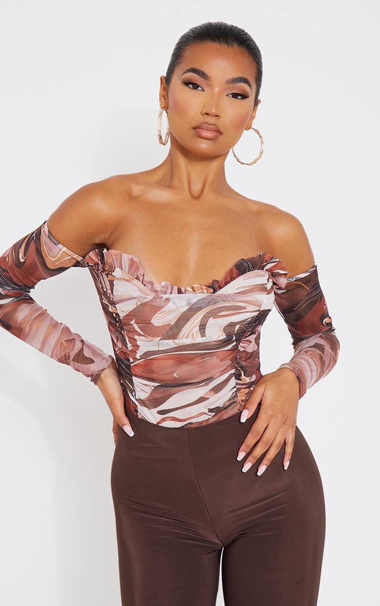 Brown Marble Print Mesh Ruched Bardot Bodysuit 1