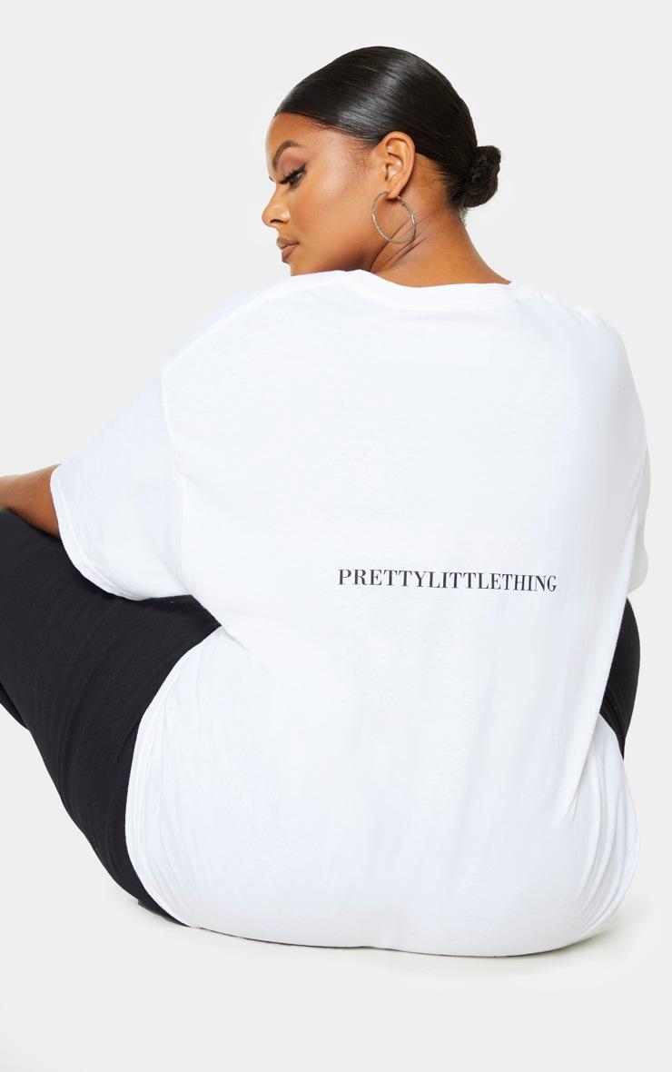 PRETTYLITTLETHING Plus White Oversized Slogan T-Shirt 1