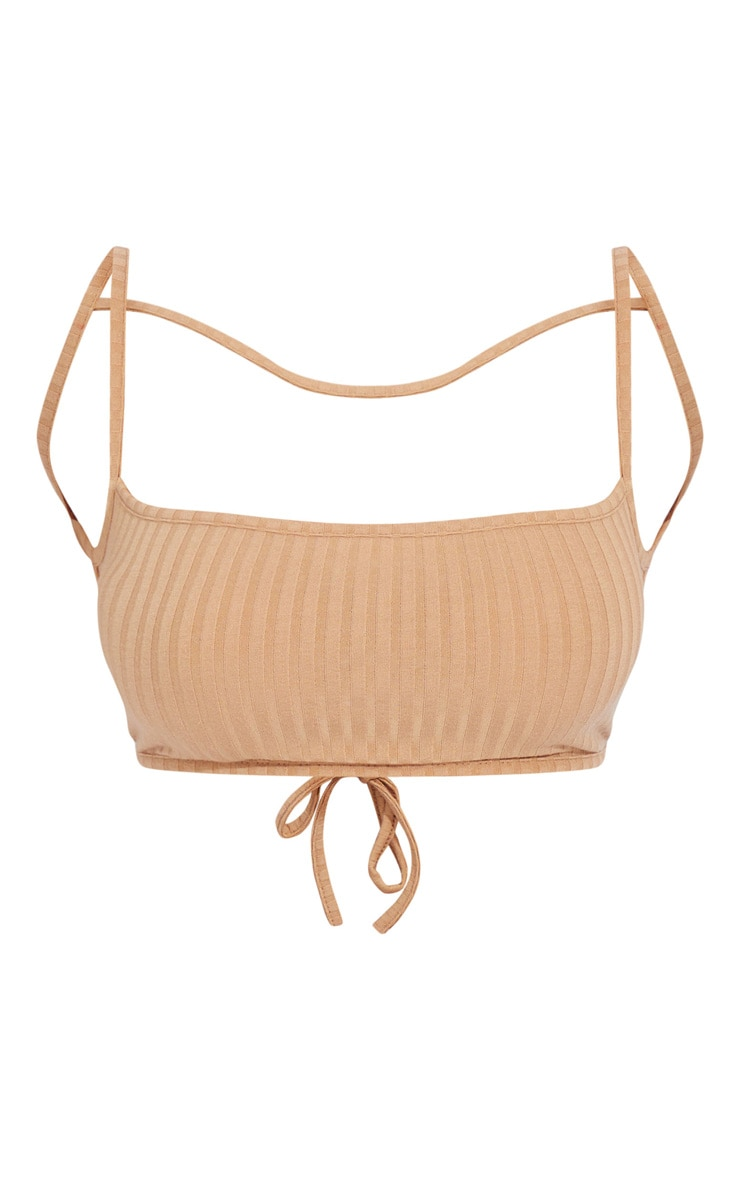 Beige Soft Rib Strappy Backless Tie Bralet 5