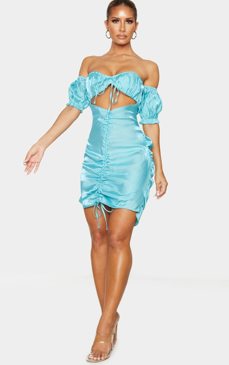 Turquoise Iridescent Ruched Bardot Bodycon Dress 3