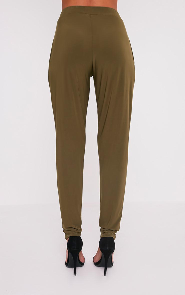 Rinda Khaki Slinky High Waisted Peg Trousers 5