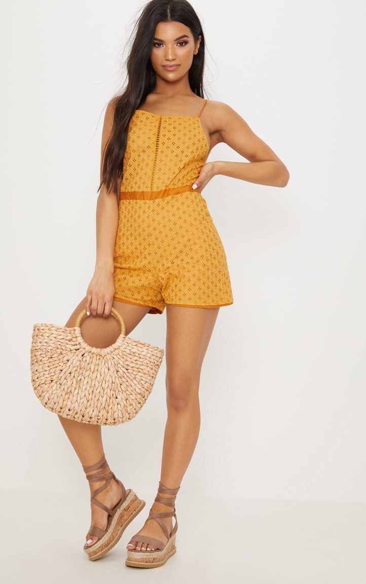 Mustard Broderie anglaise Straight Neck Playsuit 1