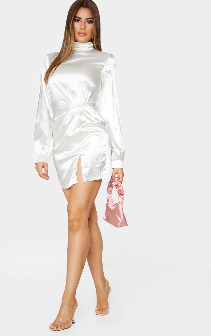 Tall Cream High Neck Split Satin Long Sleeve Dress 1