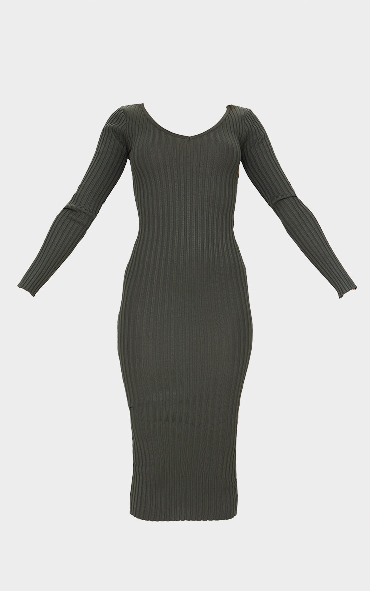 Khaki Off Shoulder Rib Knitted Midaxi Dress 6