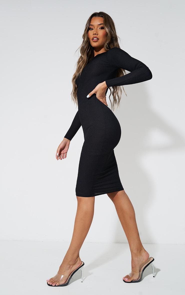 Basic Black Ribbed Long Sleeve Bodycon Dress 4