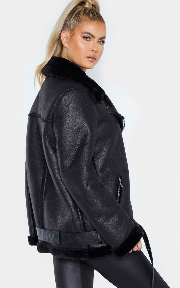 Tall Black Oversized PU Aviator 2