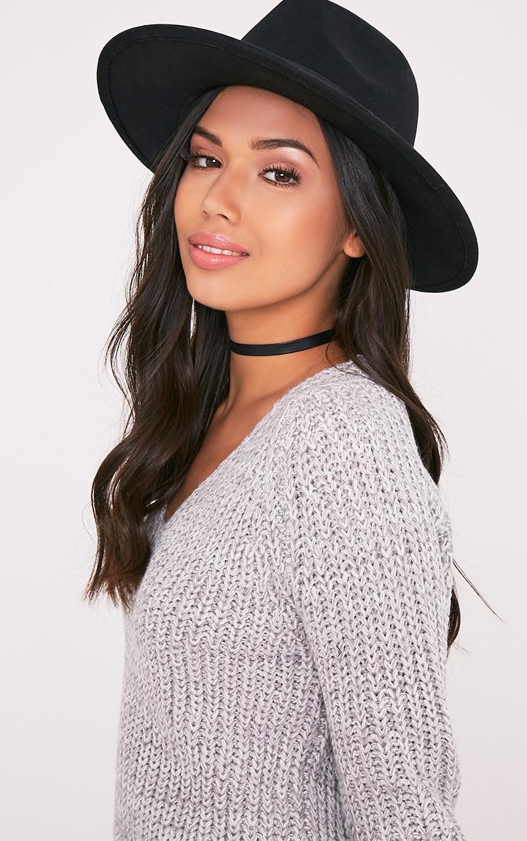 Kynia Black Wide Fedora Hat 2