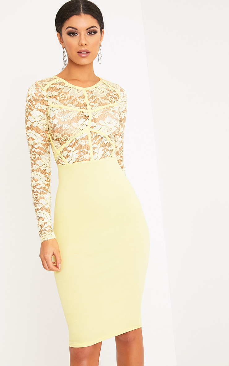 Aspen Lemon Sheer Lace Contrast Midi Dress 1