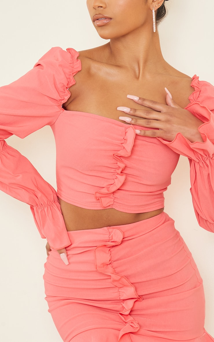 Coral Woven Frill Stretch Ruched Front Long Sleeve Crop Top 4