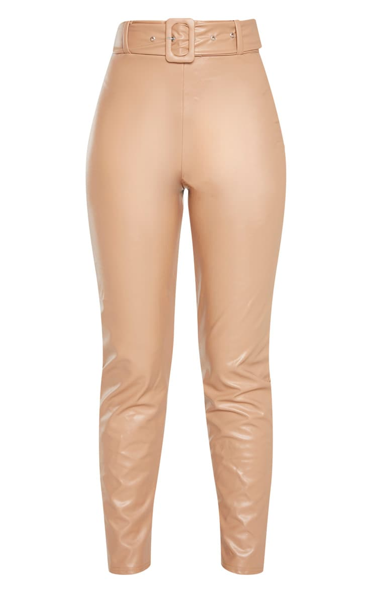 Stone Faux Leather Belted Skinny Trouser  3