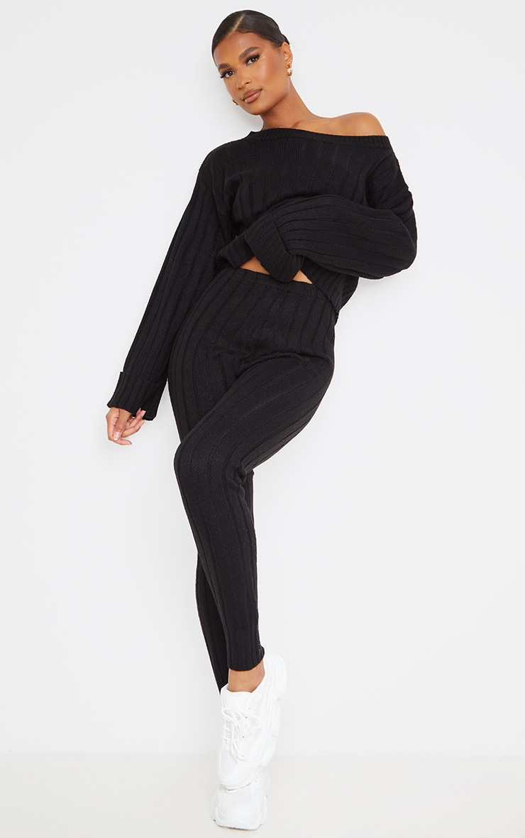 Black Off The Shoulder Sweater And Legging Lounge Set 1