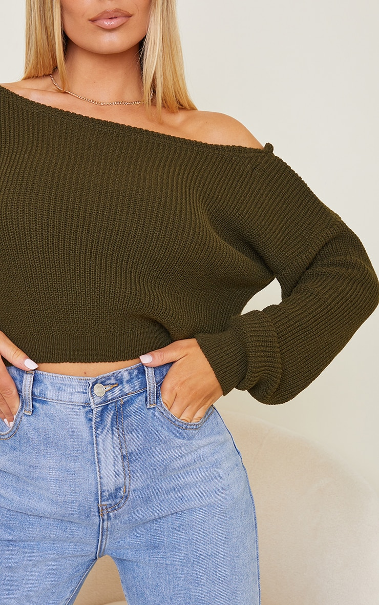 Khaki Off The Shoulder Crop Sweater 4