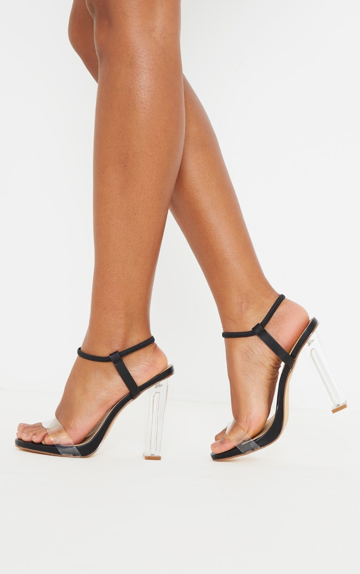 Black Wide Fit Clear Block Heel Strappy Sandal