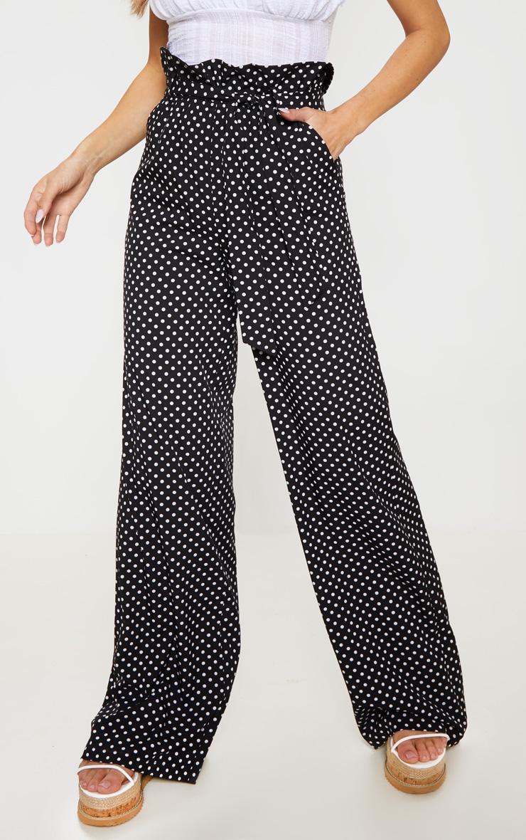 Mono Polkadot Tie Waist Paperbag Wide Leg Pants 2