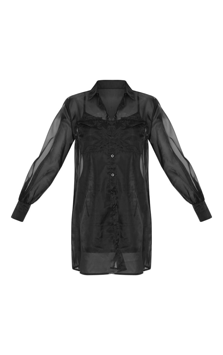 Black Organza Pocket Detail Long Sleeve Shirt Dress 4